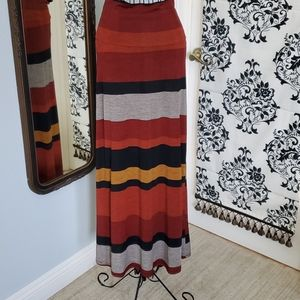 Color striped jersey knit maxi skirt